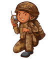 A soldier with a communication tool vector image vector image