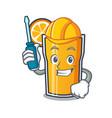 automotive orange juice mascot cartoon vector image vector image