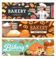 bakery shop food and baker in toque carton vector image vector image