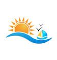 beach sunny environment logo vector image vector image