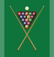 billiard cue and pool balls in triangle on green vector image
