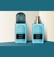 blue plastic perfume bottles vector image vector image