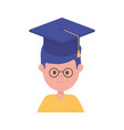 boy student graduation hat school learning online vector image