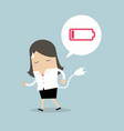 businesswoman feeling tired and low power battery vector image vector image