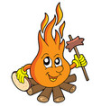 camp fire with sausage vector image