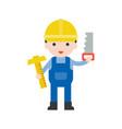 carpenter and t-square saw set profession vector image