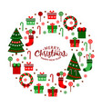christmas flat icons in a circle merry christmas vector image