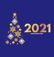 christmas tree happy new 2021 year template vector image vector image
