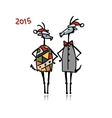 Couple of funny goats Symbol 2015 new year vector image