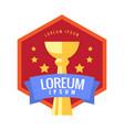 cup winner logo emblem vector image vector image