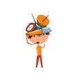 cute kid in fantastic headdress with antennas and vector image vector image