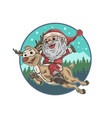cute santa claus and deer vector image vector image