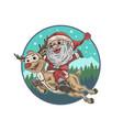 Cute santa claus and deer