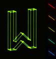 EPS10 glowing wireframe letter W - easy to change vector image vector image