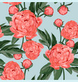 floral seamless pattern with coral orange peonies vector image vector image