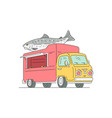 fresh sea food mobile restaurant truck sketch vector image vector image