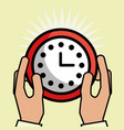 hands holding clock customer service vector image