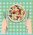 hands with a knife and fork near a plate of vector image vector image