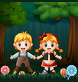 hansel and gretel in the forest vector image