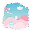 happy easter cute bunny easter eggs vector image vector image