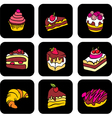 Icons with cake vector image