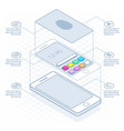 isometric concept of scanning fingerprint on vector image