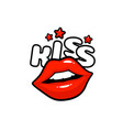 kiss label sticker a kiss a message red lips vector image vector image
