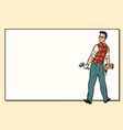 man and repair drill hammer copy space vector image vector image
