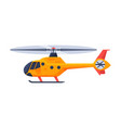 orange helicopter aircraft flying chopper air vector image vector image