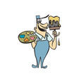 painter holding canvas cartoon character vector image