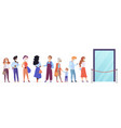people in medical face masks in queue line vector image vector image