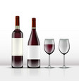 realistic open red wine bottle with wine glass vector image vector image