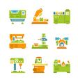 Set flat icons of machine tool vector image