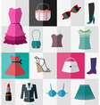 Set of flat womens clothes and accessories vector image vector image