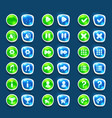 set with shiny green and blue interface buttons vector image vector image