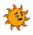 sick sun cartoon mascot character vector image