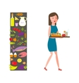 Slender girl with healthy food vector image vector image