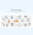Thin line art archaeology poster banner