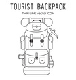 Thin Line Back Pack Isolated Icon vector image