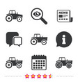 tractor icons agricultural industry transport vector image