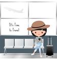 travelling woman cartoon at airport vector image