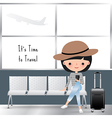 Travelling woman cartoon at the airport
