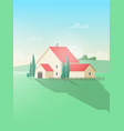 vertical rural landscape with farm building or vector image