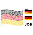 waving german flag pattern of job text items vector image