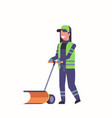woman cleaner in uniform using handle snowplough vector image