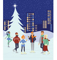young people skaiting on winter ice rink vector image
