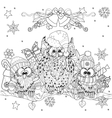 Christmas Owl on tree branch with small owls vector image