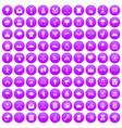100 arrow icons set purple vector image