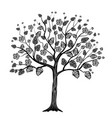 black tree with flowers vector image