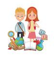 boy and girl pupils school equipment vector image